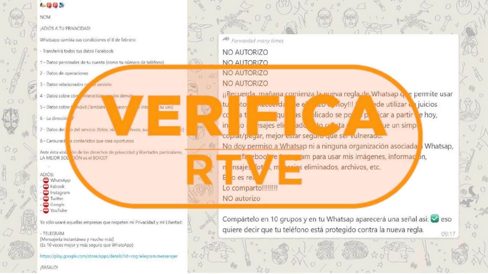 """Captura del mensaje con la cadena """"No autorizar"""" sobre la privacidad en Whatsapp y el sello de VerificaRTVE"""