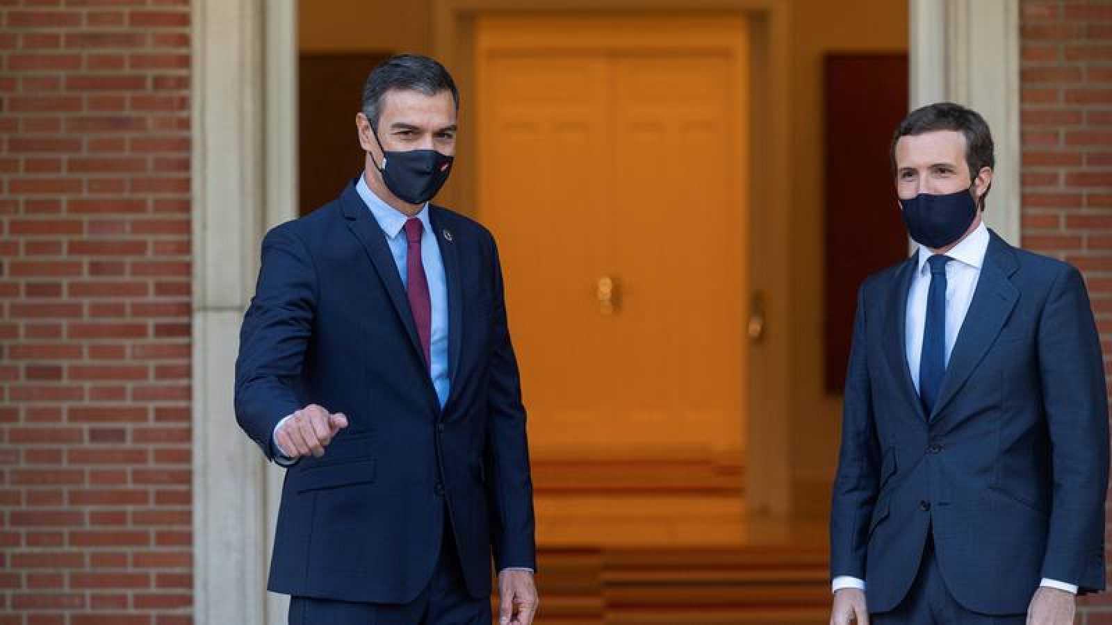Pedro Sánchez y Pablo Casado, en su última reunión en Moncloa, en septiembre de 2020.