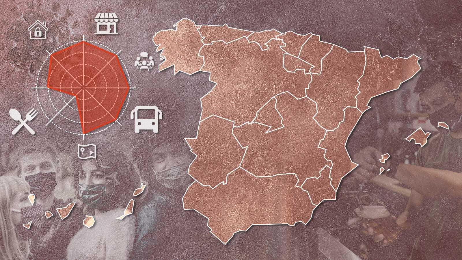 Cierre de bares y restaurantes, confinamientos perimetrales o toques de queda: comparamos en una escala de 1 a 5 las restricciones frente al coronavirus en España.