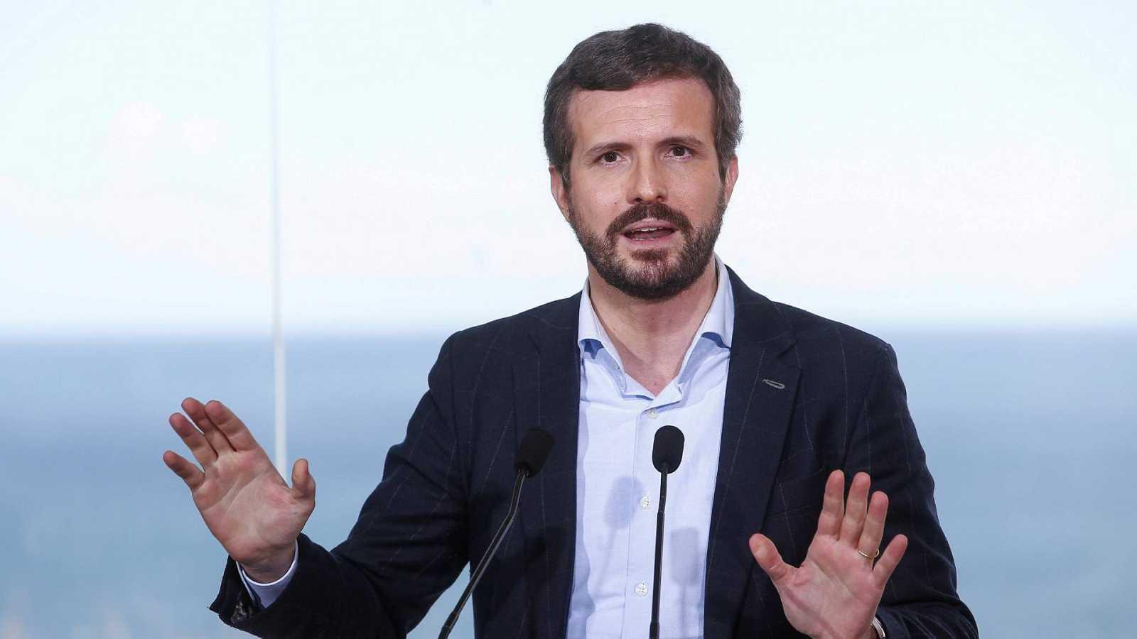 El presidente del PP, Pablo Casado, en un acto en Badalona durante la campaña electoral en Cataluña
