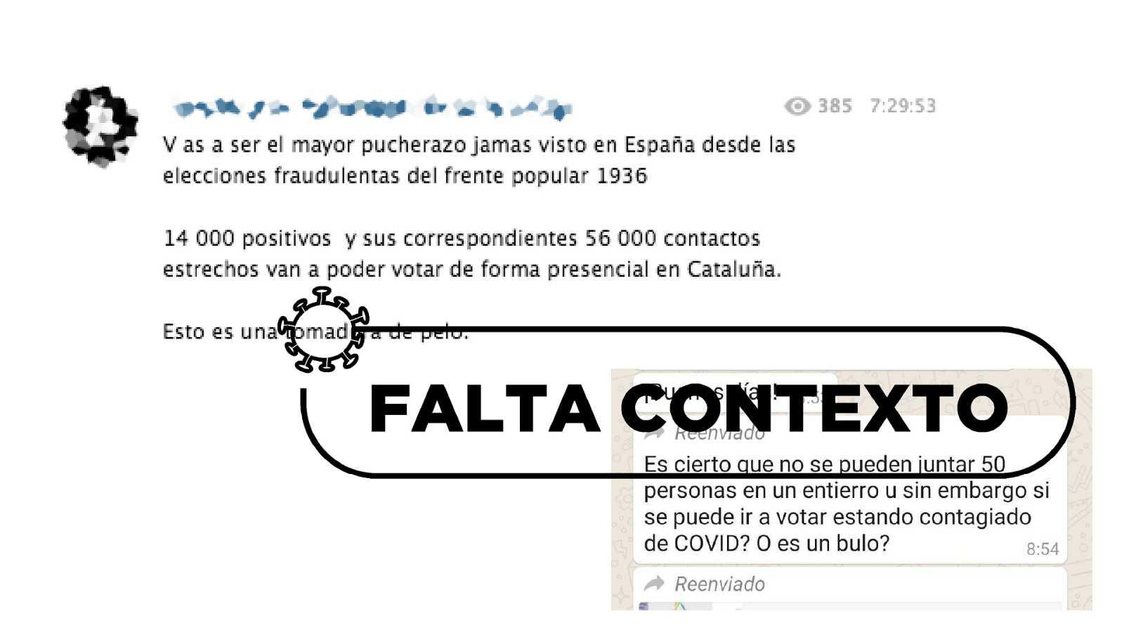 Distintas capturas sobre bulos sobre el voto de los contagiados en las elecciones catalanas