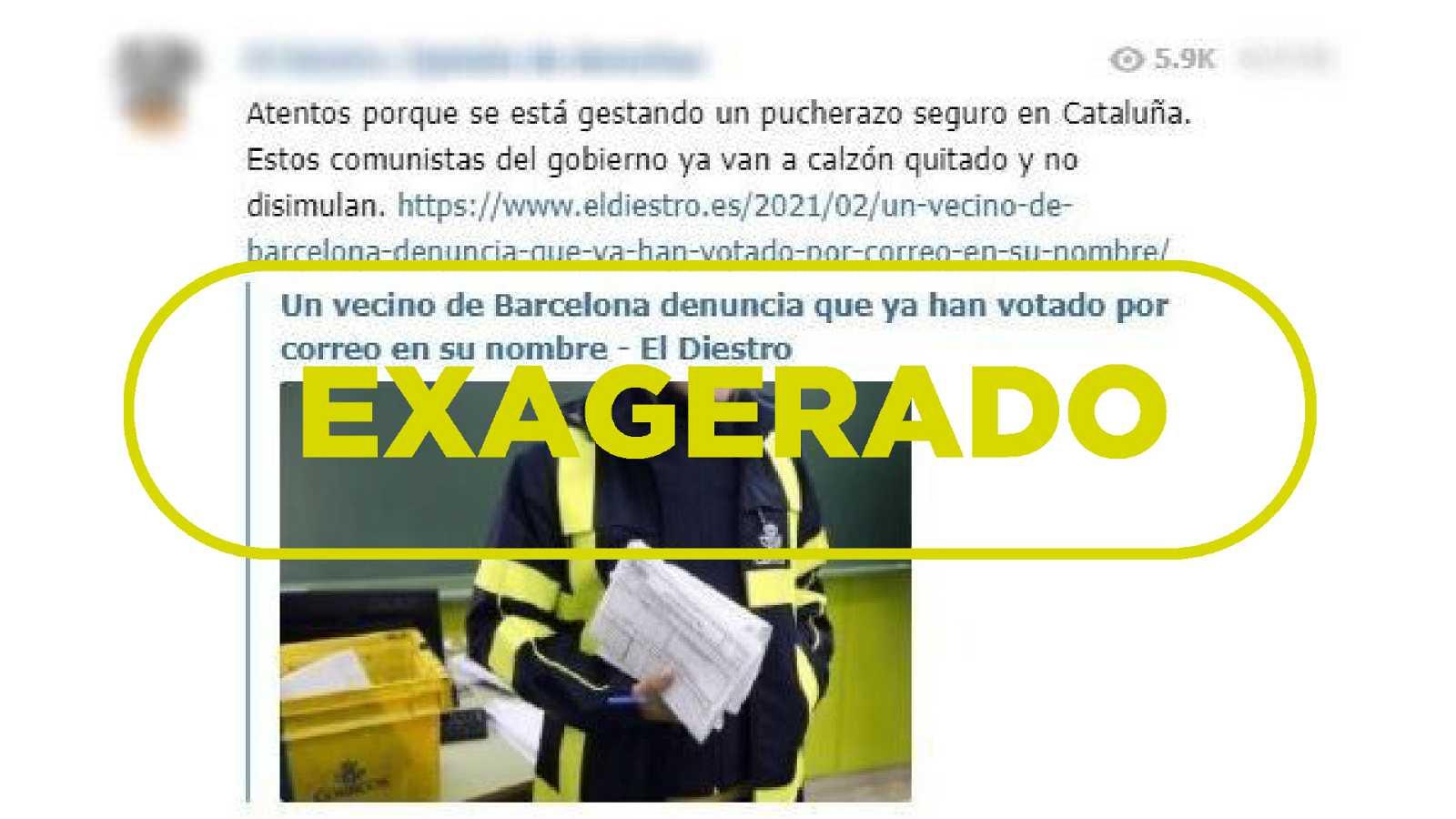 Captura del mensaje que denuncia que alguien votó por un elector en Barcelona con el sello Exagerado de VerificaRTVE