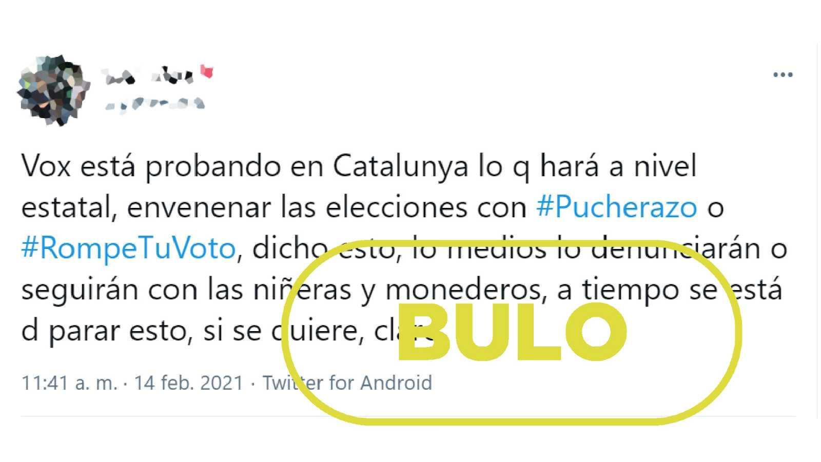 Bulo que afirma que las etiquetas #rompetuvoto y #pucherazo provienen de Vox