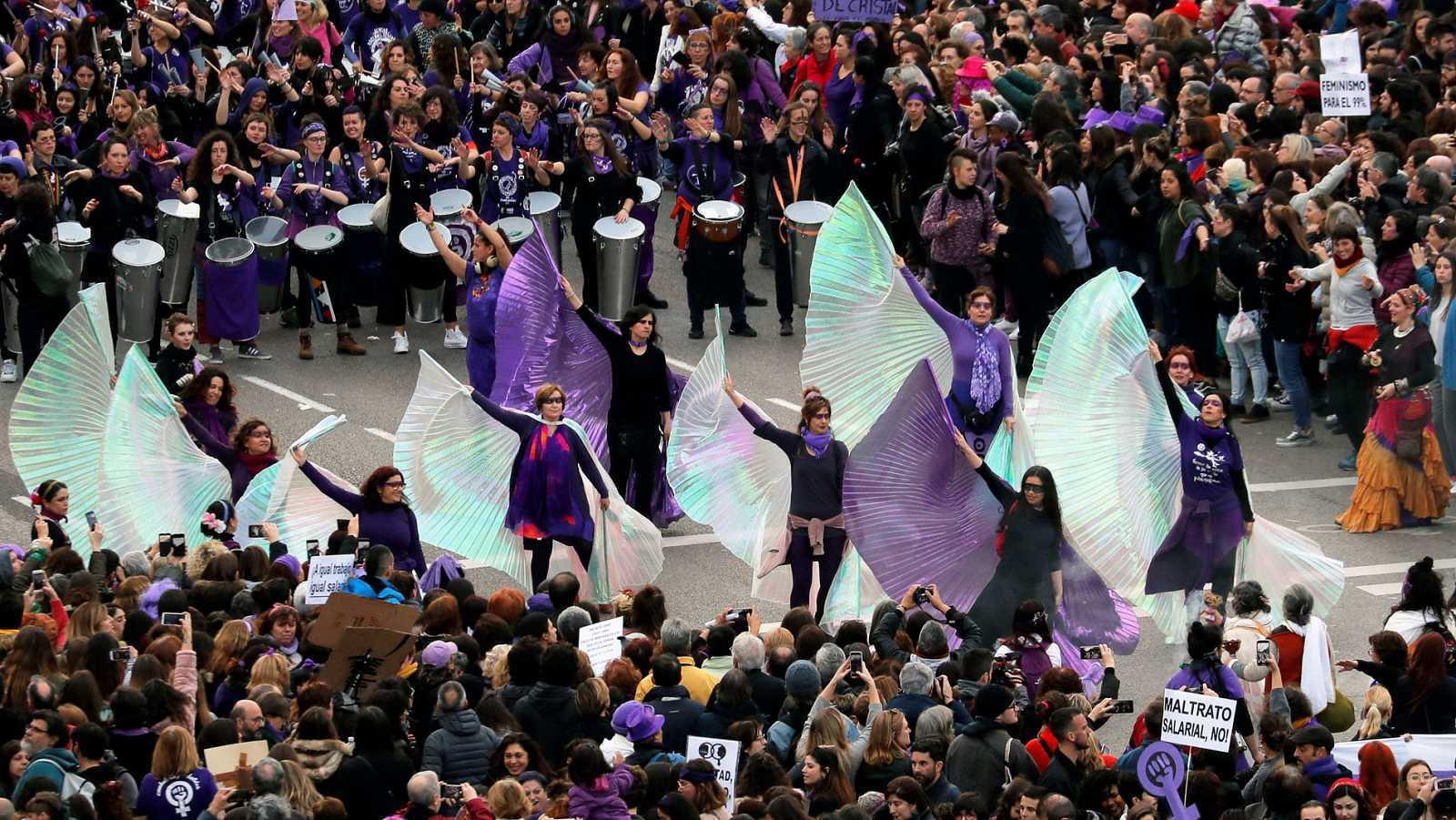 Fotografía de la marcha que recorrió Madrid en 2020 por el Día de la Mujer.