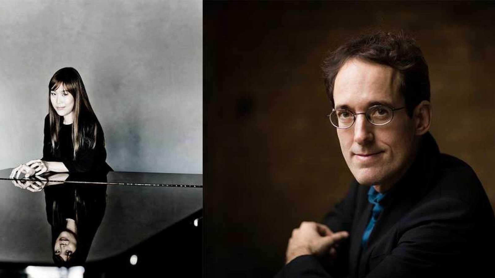 La pianista Yeol Eum Son y el director titular de la Orquesta Sinfónica RTVE, Pablo González