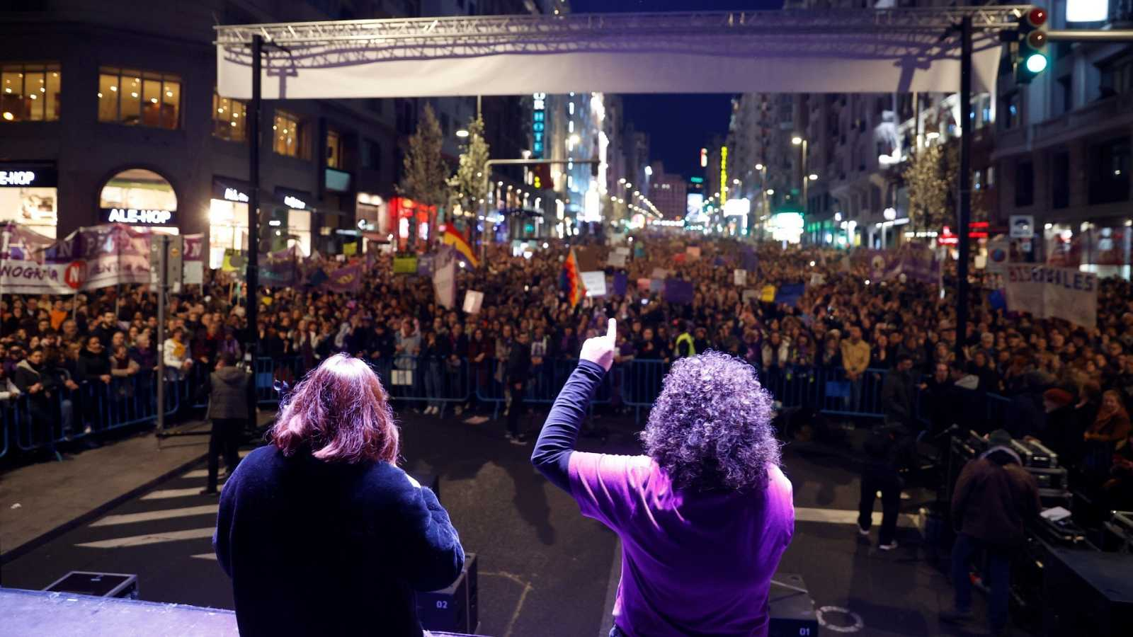 Integrantes de la Comisión 8M, al término de la manifestación celebrada el pasado año en Madrid.