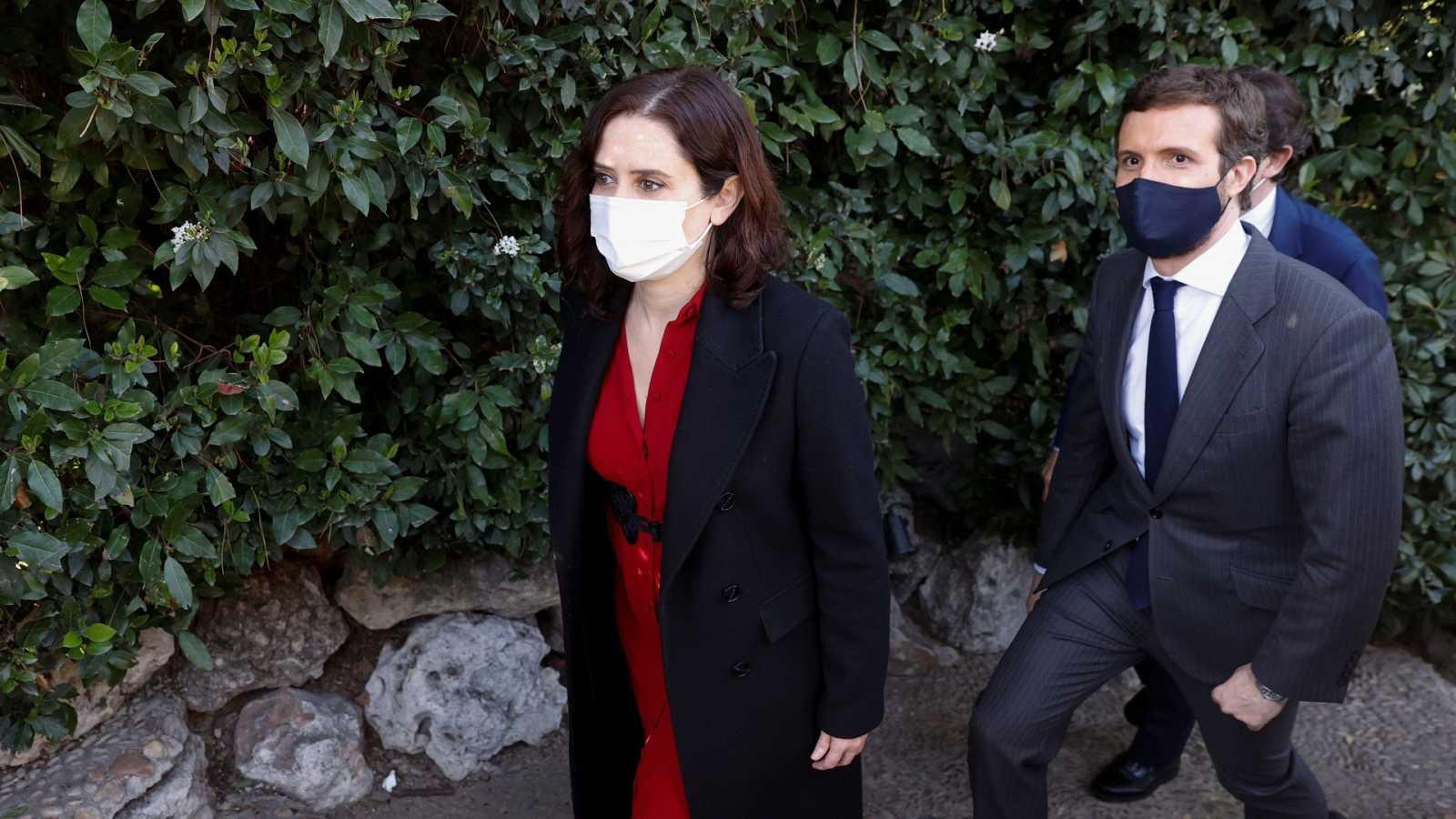 El líder del PP, Pablo Casado, y la presidenta de la Comunidad de Madrid, Isabel Díaz Ayuso