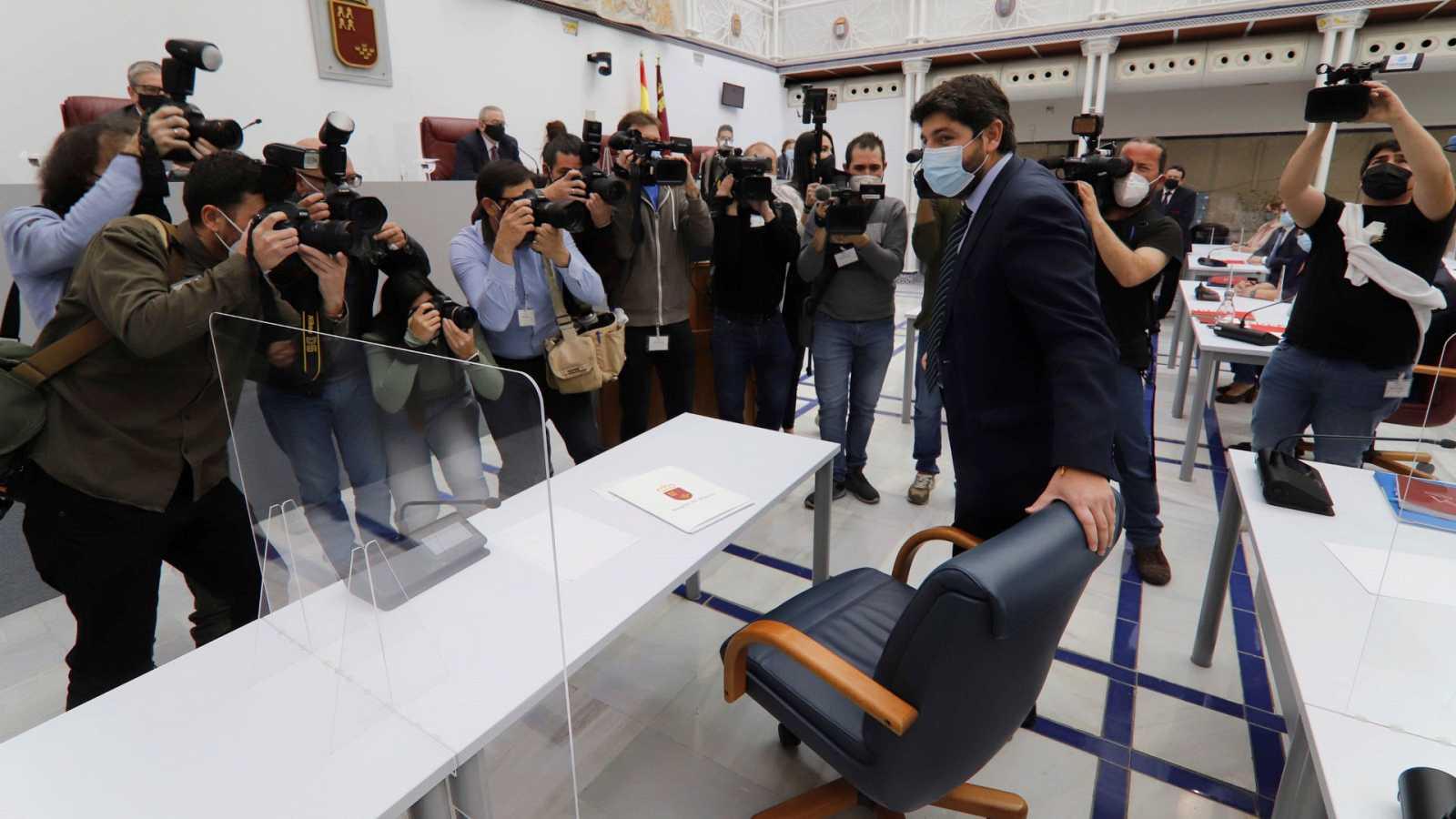 Primera sesión del debate de la moción de censura presentada por Cs y PSOE contra el Gobierno de coalición de Murcia,