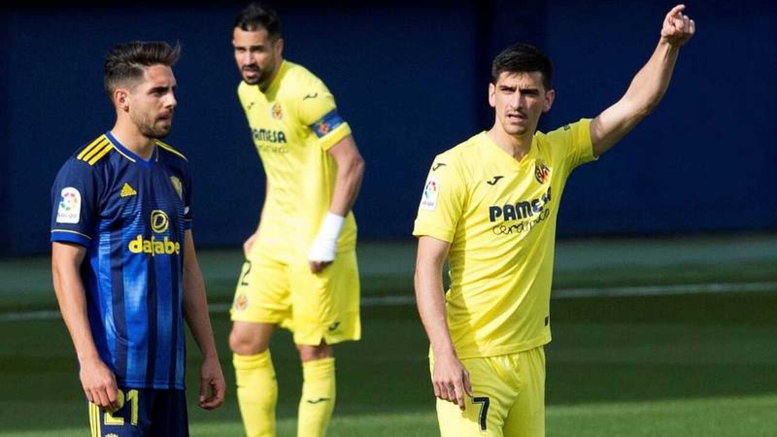 Gerard Moreno celebra su gol para el Villarreal.