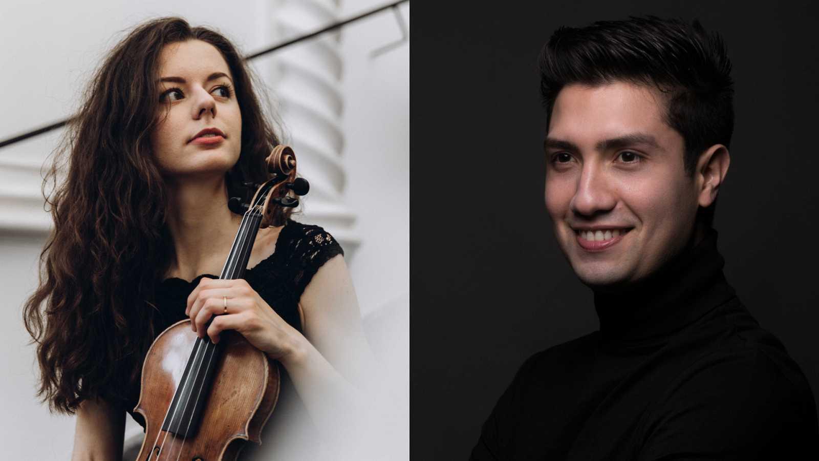 La violinista Tetiana Lutsyk y el maestro Rodolfo Barráez
