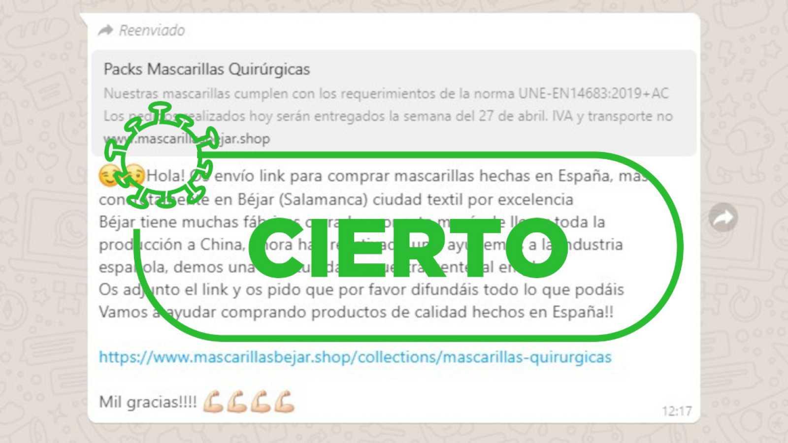 Mensaje que circula por Whatsapp con el sello de cierto de VerificaRTVE.