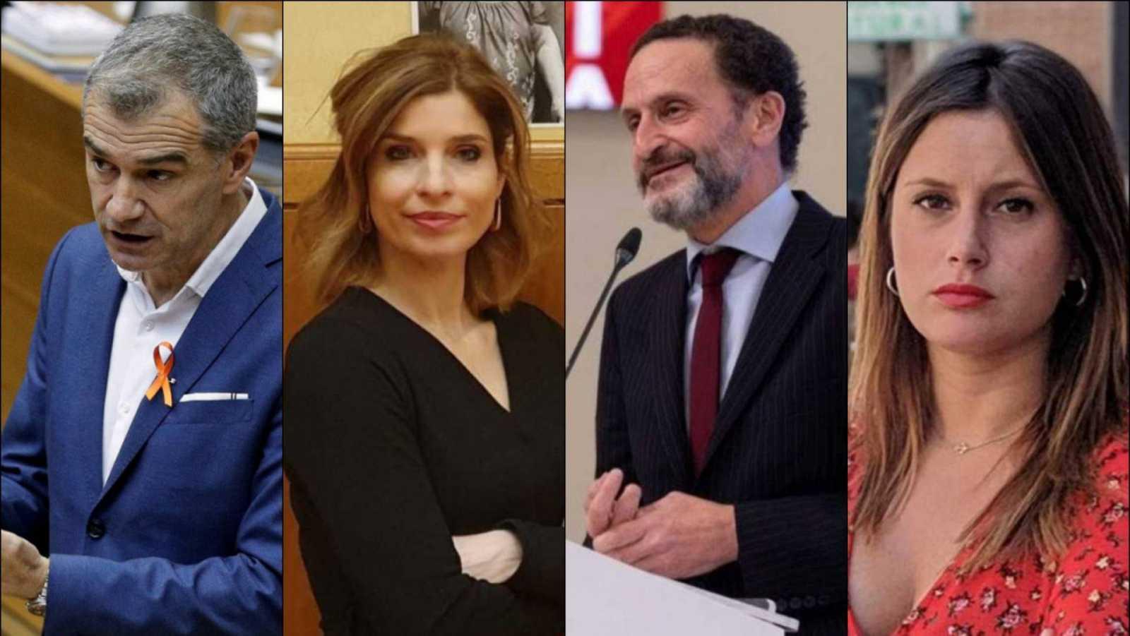 Toni Cantó (PP), Hana Jalloul (PSOE), Edmundo Bal (Cs) y Alejandra Jacinto (Podemos)