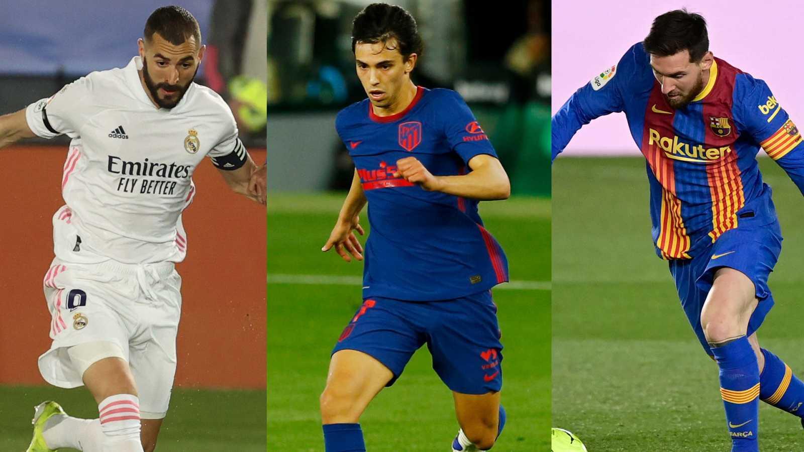 Benzema, Joao Félix y Messi, jugadores de Madrid, Atlético y Barça.