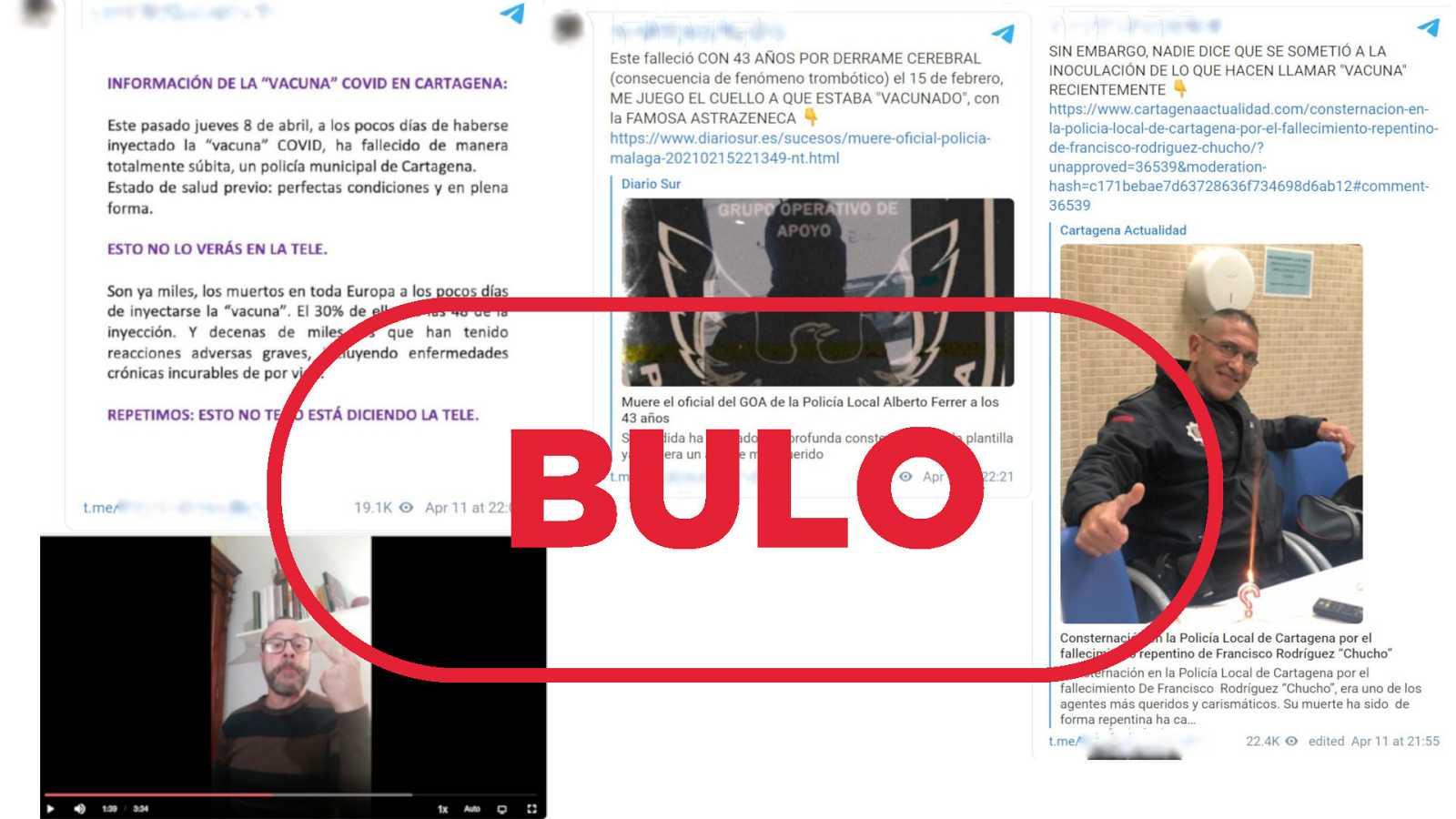 Imágenes de los mensajes y de un vídeo que dicen que la muerte de dos policías de Cartagena y Málaga fue causada por AstraZeneca con el sello bulo en rojo de VerificaRTVE