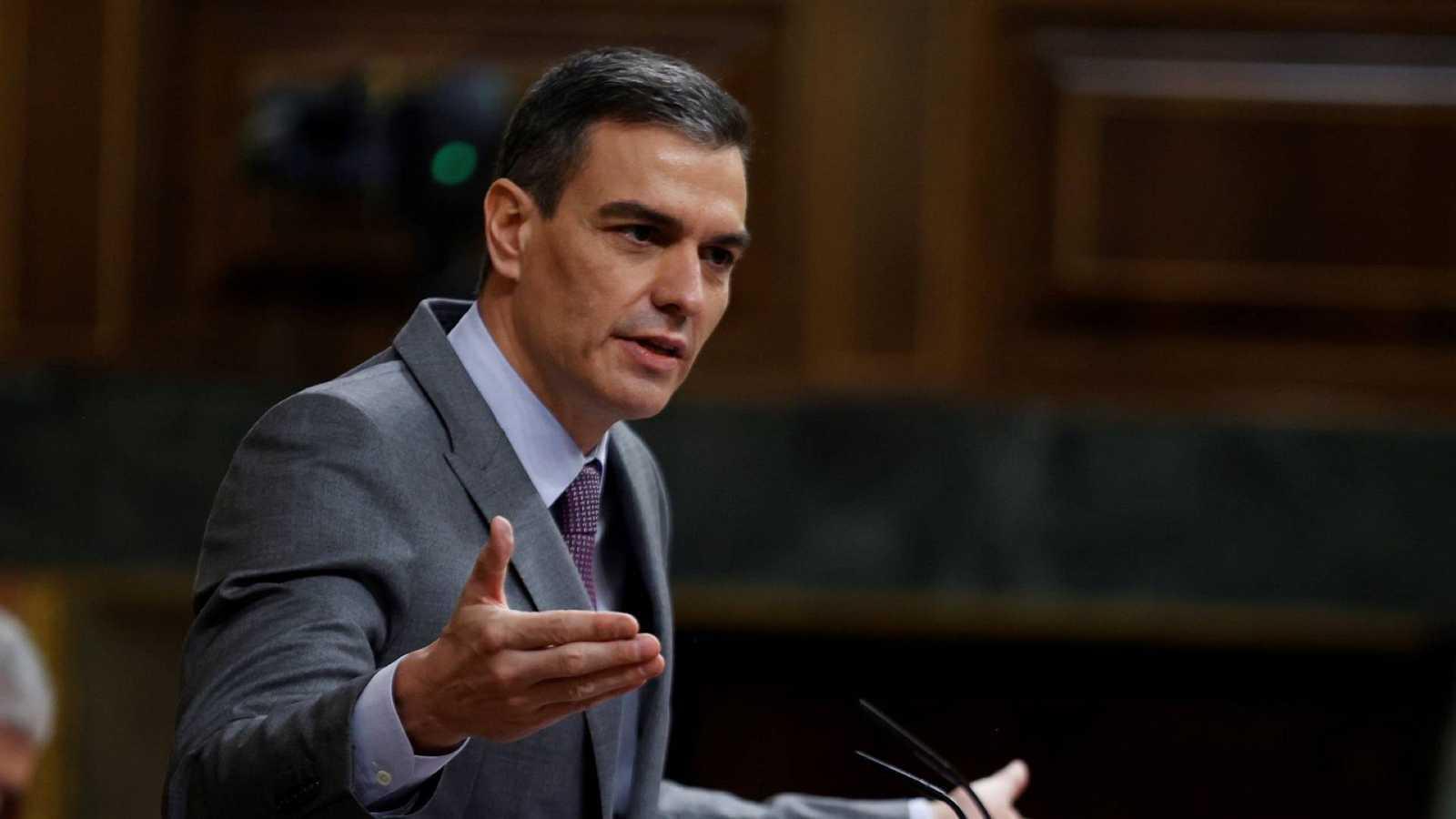 El presidente del Gobierno, Pedro Sánchez, durante su intervención este miércoles en el Congreso