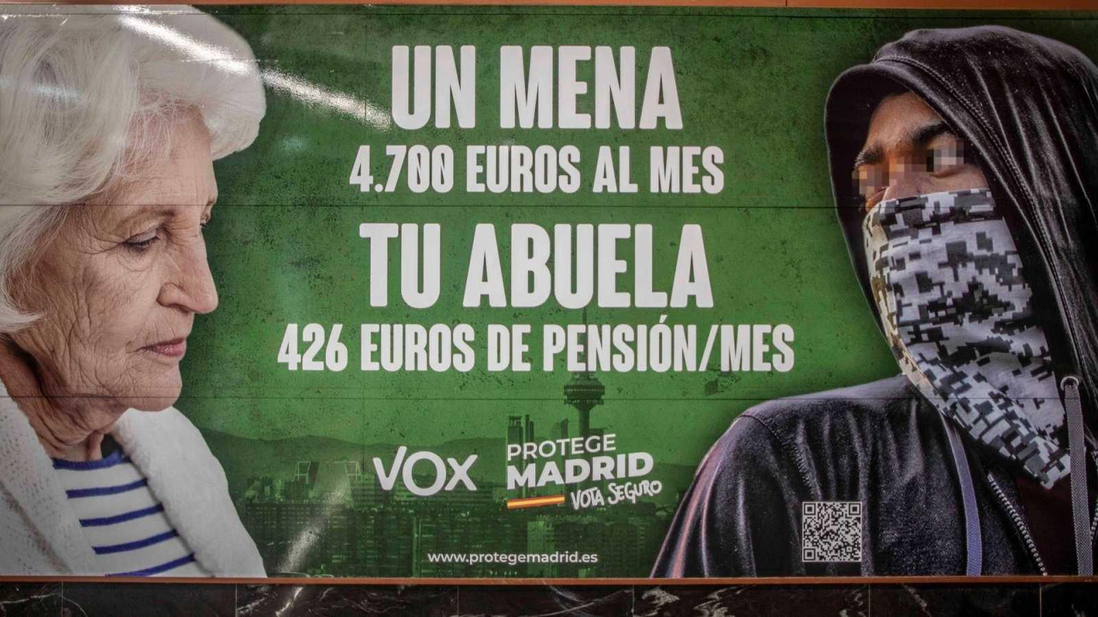 Cartel de Vox sobre los menores migrantes