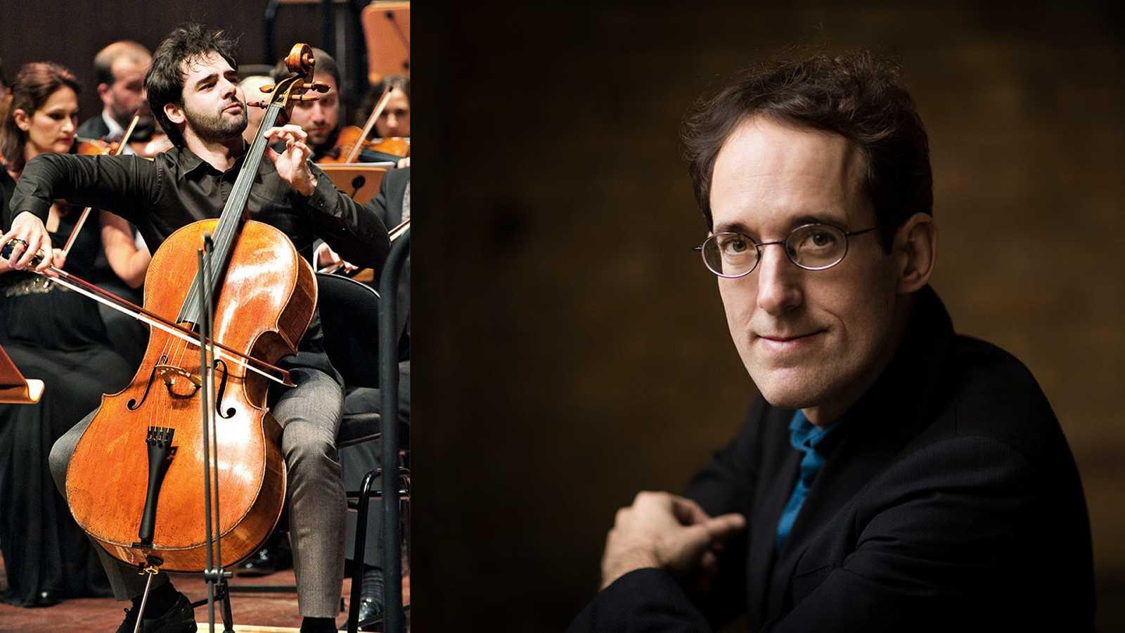 El chelista Pablo Ferrández y el director titular de la Orquesta Sinfónica RTVE, Pablo González