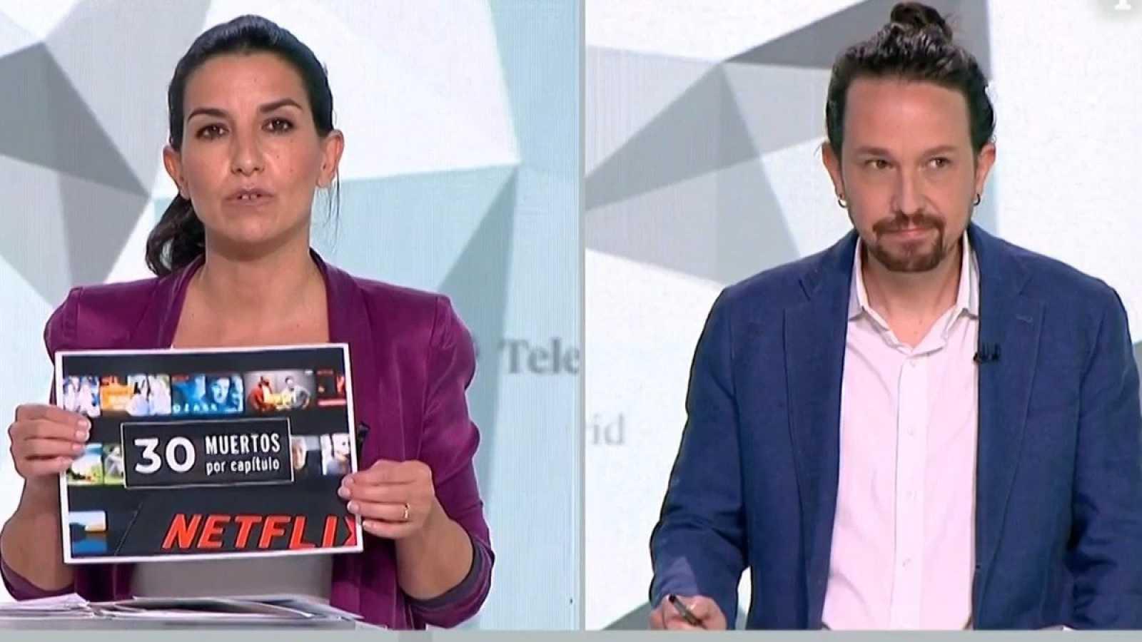 Rocío Monasterio (Vox) y Pablo Iglesias (Podemos), durante el debate de las elecciones del 4M en Telemadrid