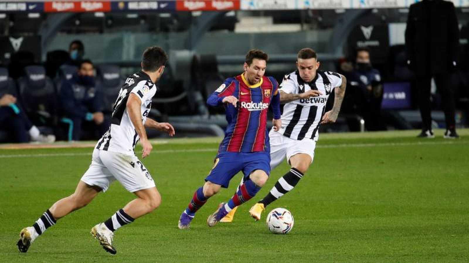 Imagen del partido Barcelona-Levante de la Liga 2020-2021 disputado en el Camp Nou.