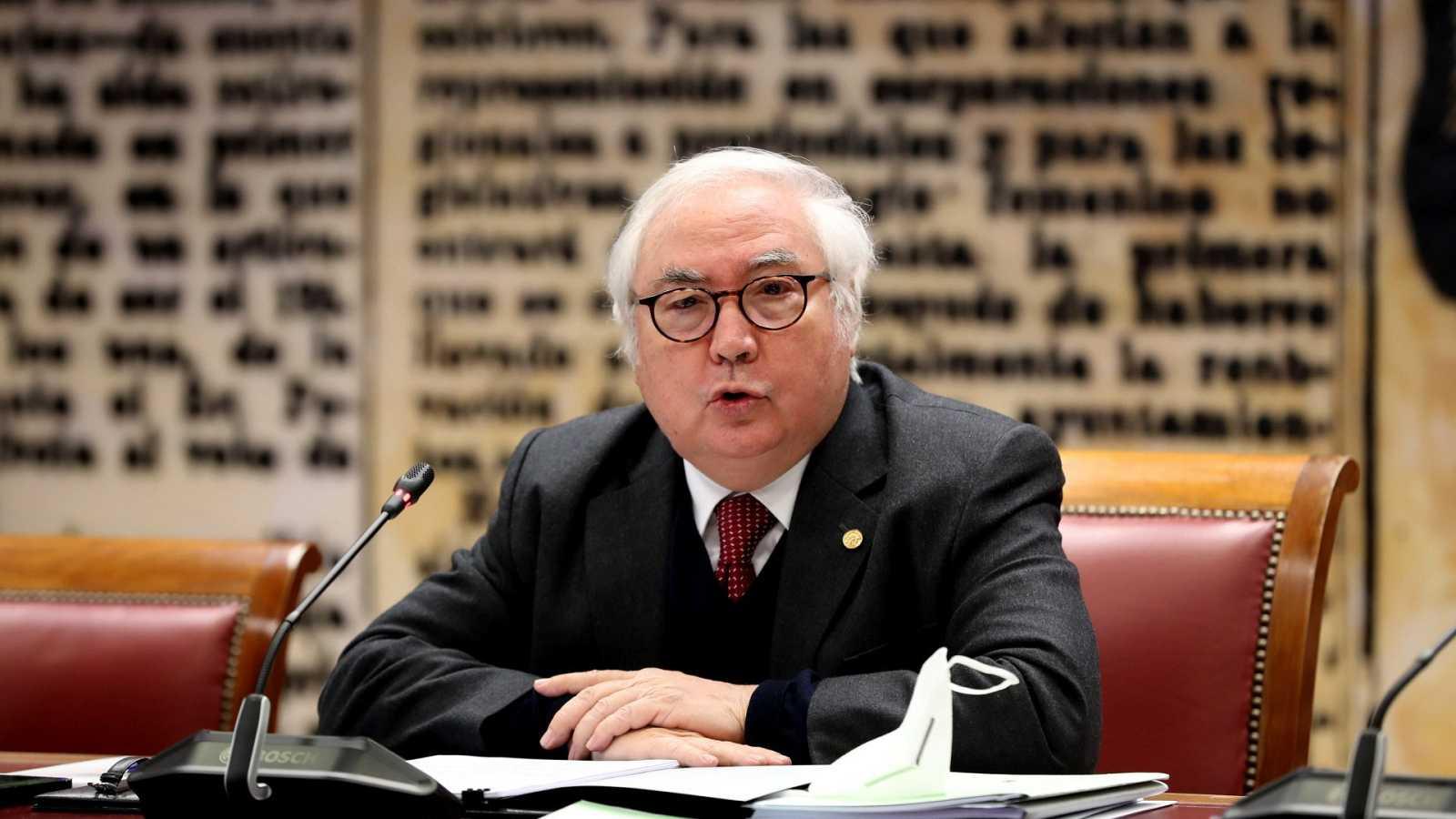 El ministro de Universidades, Manuel Castells, en una comparecencia en el Senado