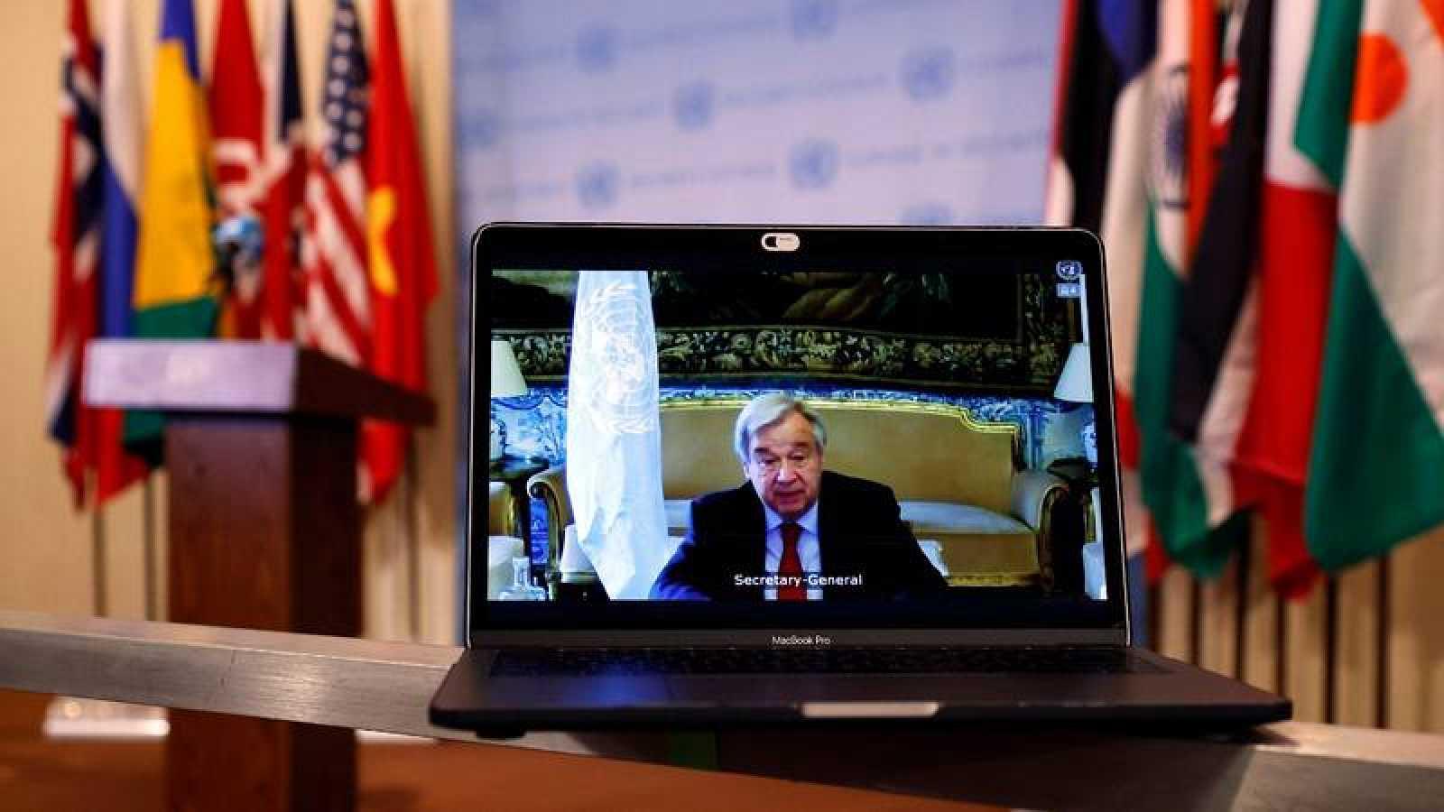 El secretario general de la ONU, António Guterres, interviene en el Consejo de Seguridad de manera telemática