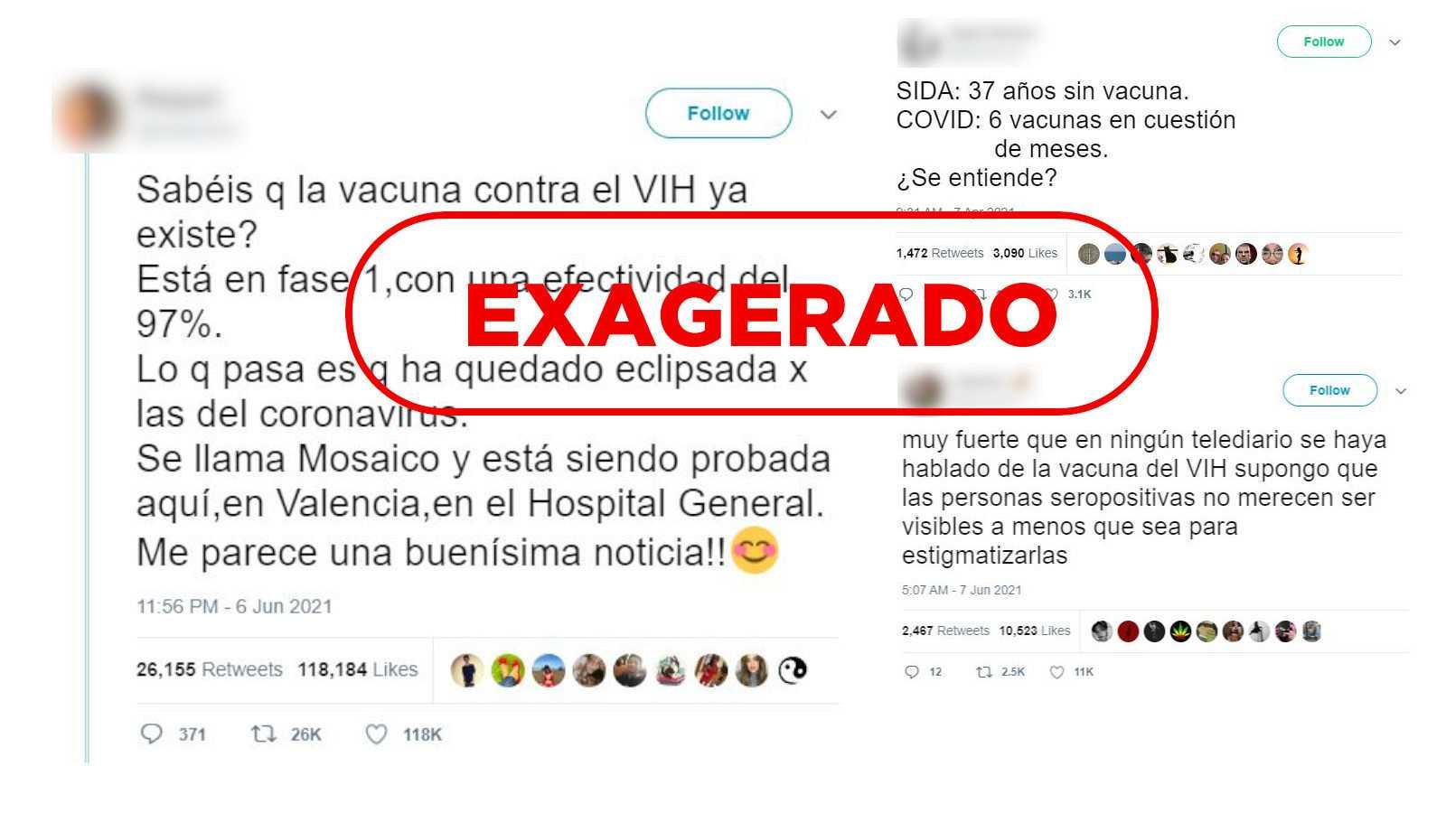 Captura de algunos tuits sobre la vacuna del sida con el sello Exagerado de VerificaRTVE