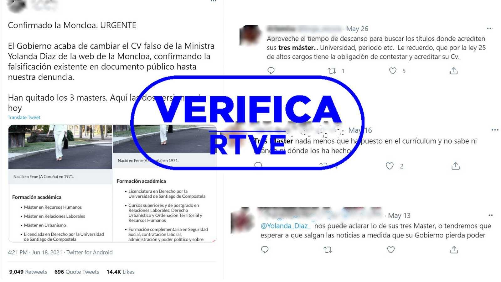 Imágenes de redes sociales sobre los másteres de Yolanda Díaz con el sello azul de VerificaRTVE