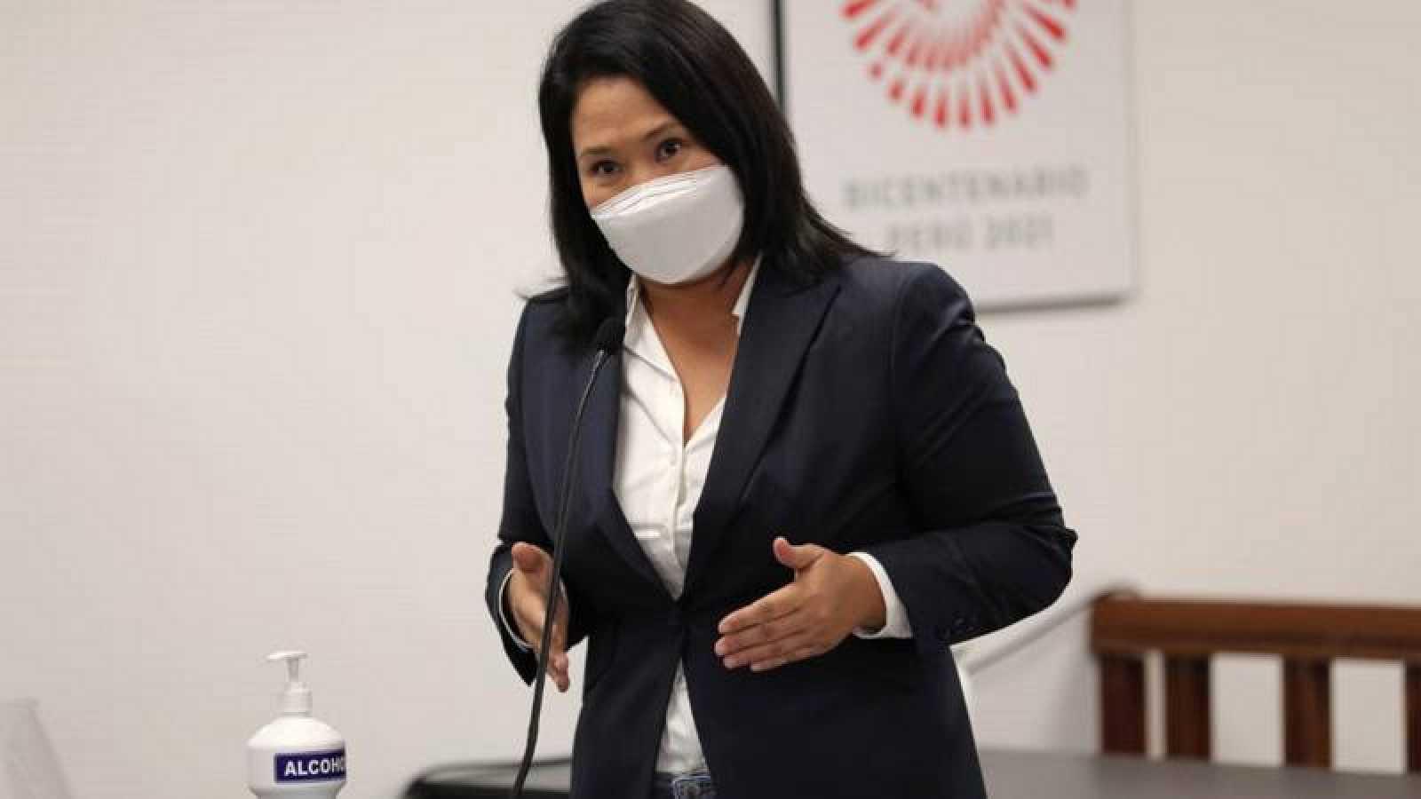 Keiko Fujimori durante la vista con el juez Víctor Zúñiga