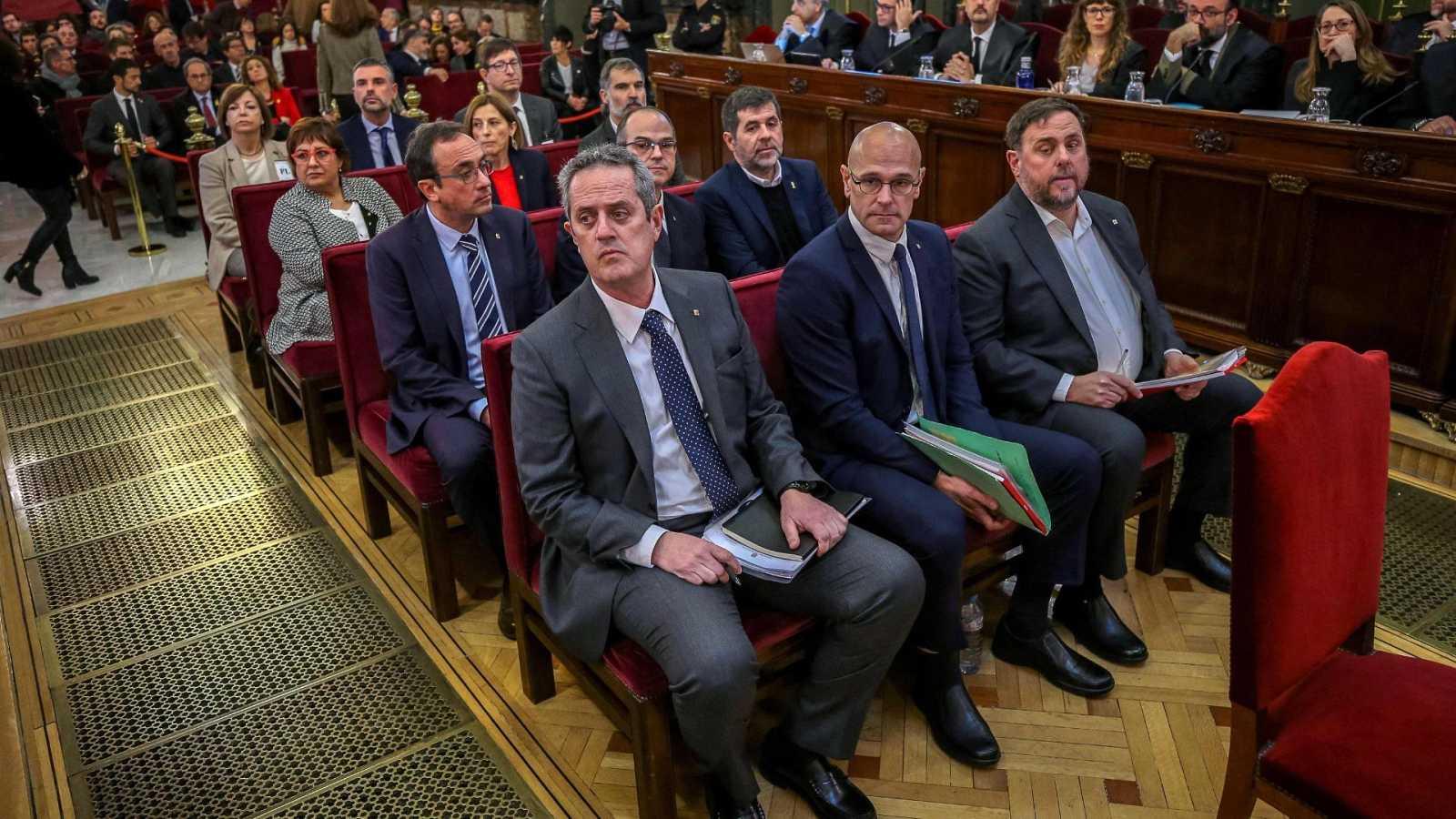 Los líderes independentistas catalanes, durante el juicio por el 'procés' ante el Tribunal Supremo
