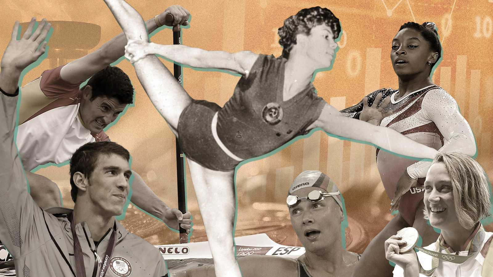 Agunos de los princpales medallistas del mundo y de España en la historia olímpica: de izquierda de derecha: David Cal, Michael Phelps, Larisa Latynina, Francisca von Almsick, Simone Biles y Mireia Belmonte