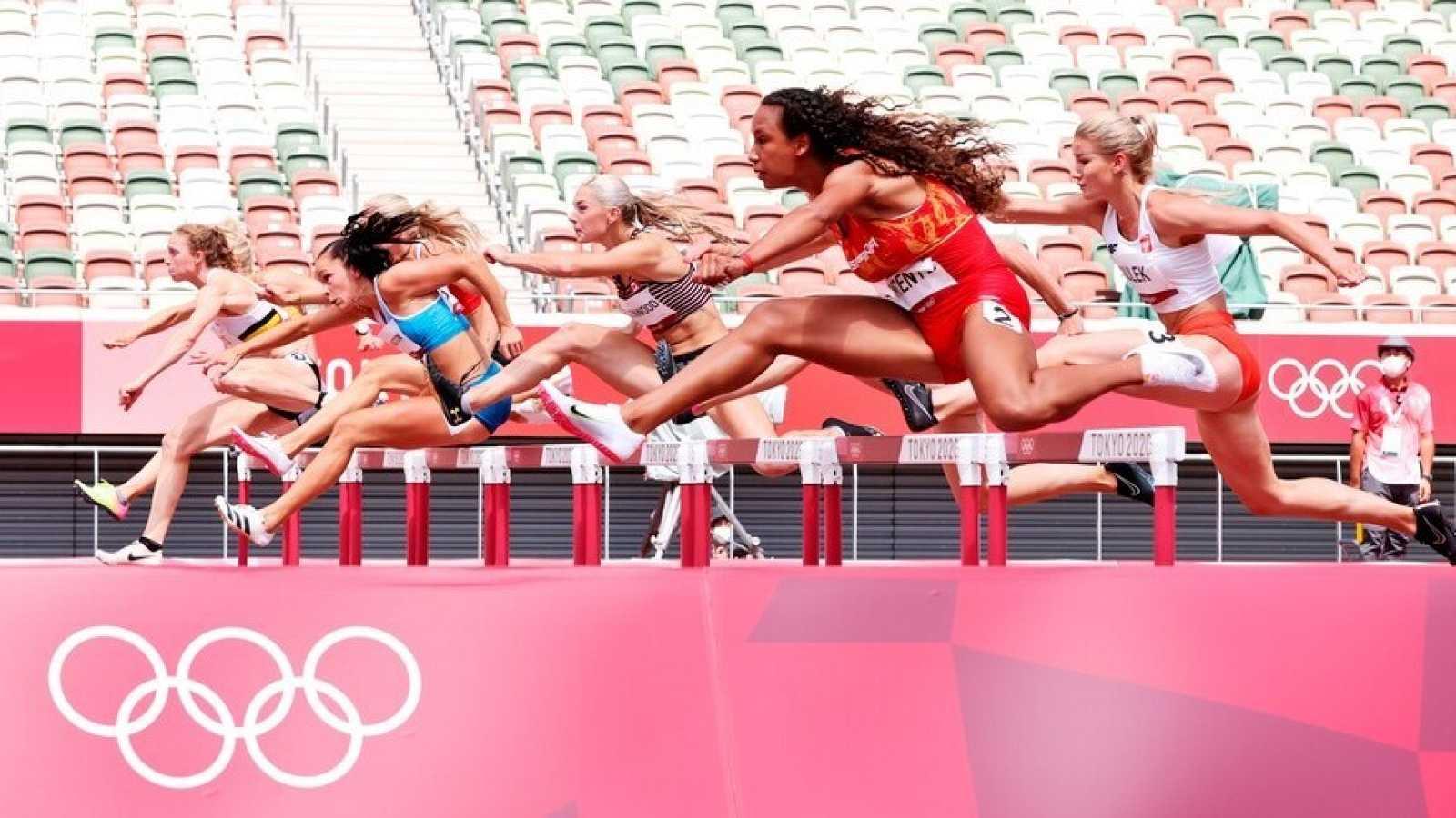 La atleta María Vicente, durante la competición de heptatlón en Tokyo 2020