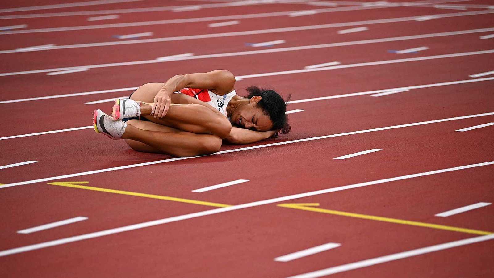 Katarina Johnson-Thompson cae lesionada en los 200 m lisos de heptatlón