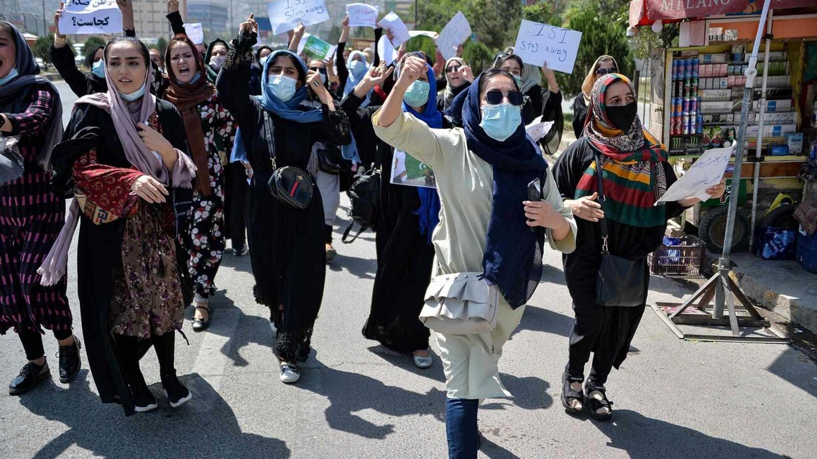 Protesta de mujeres afganas en Kabul, el pasado 7 de septiembre. Foto: Hoshang Hashimi / AFP