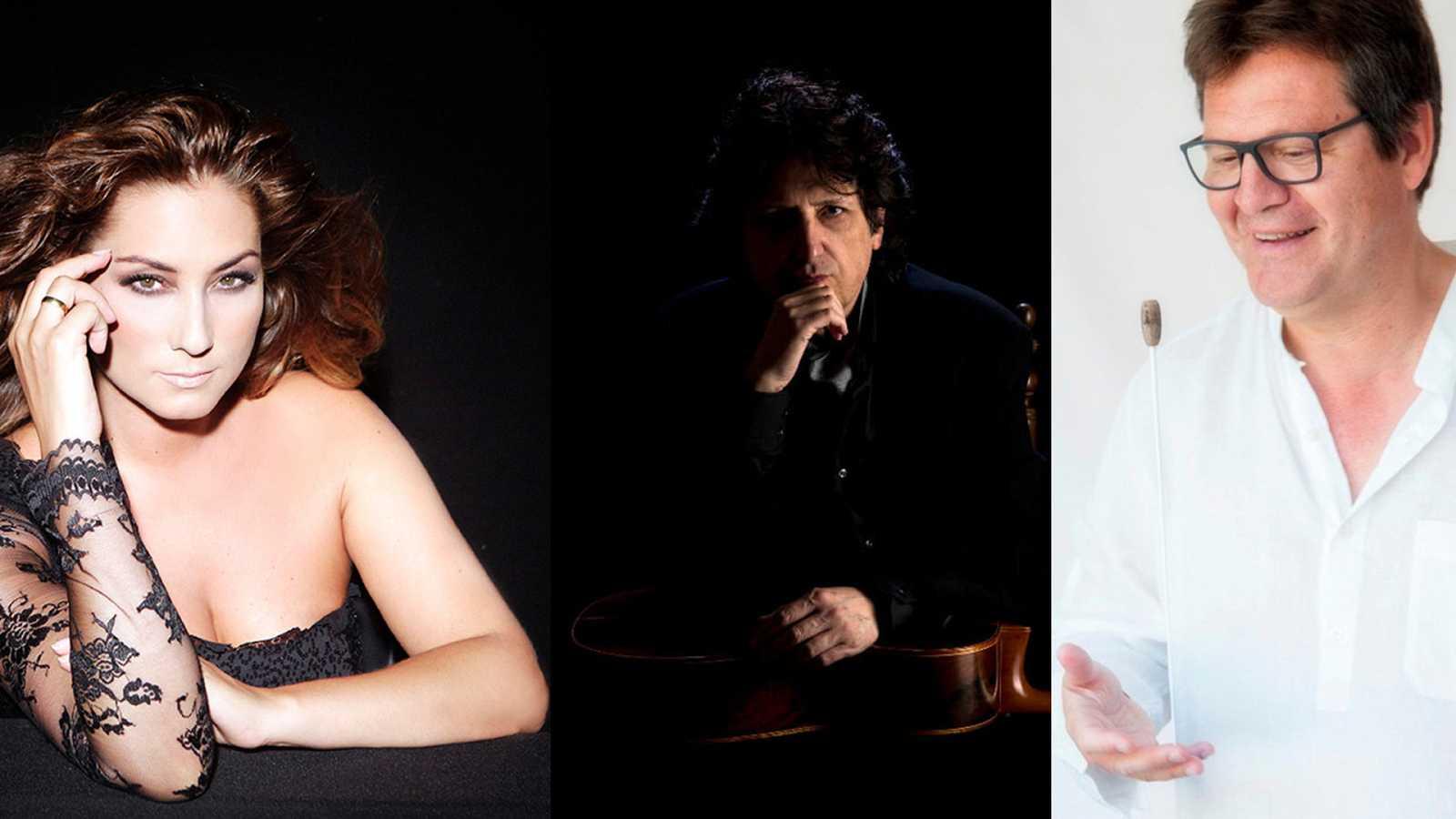 La cantaora Marina Heredia, el guitarrista Cañizares y el maestro Manuel Hernández-Silva