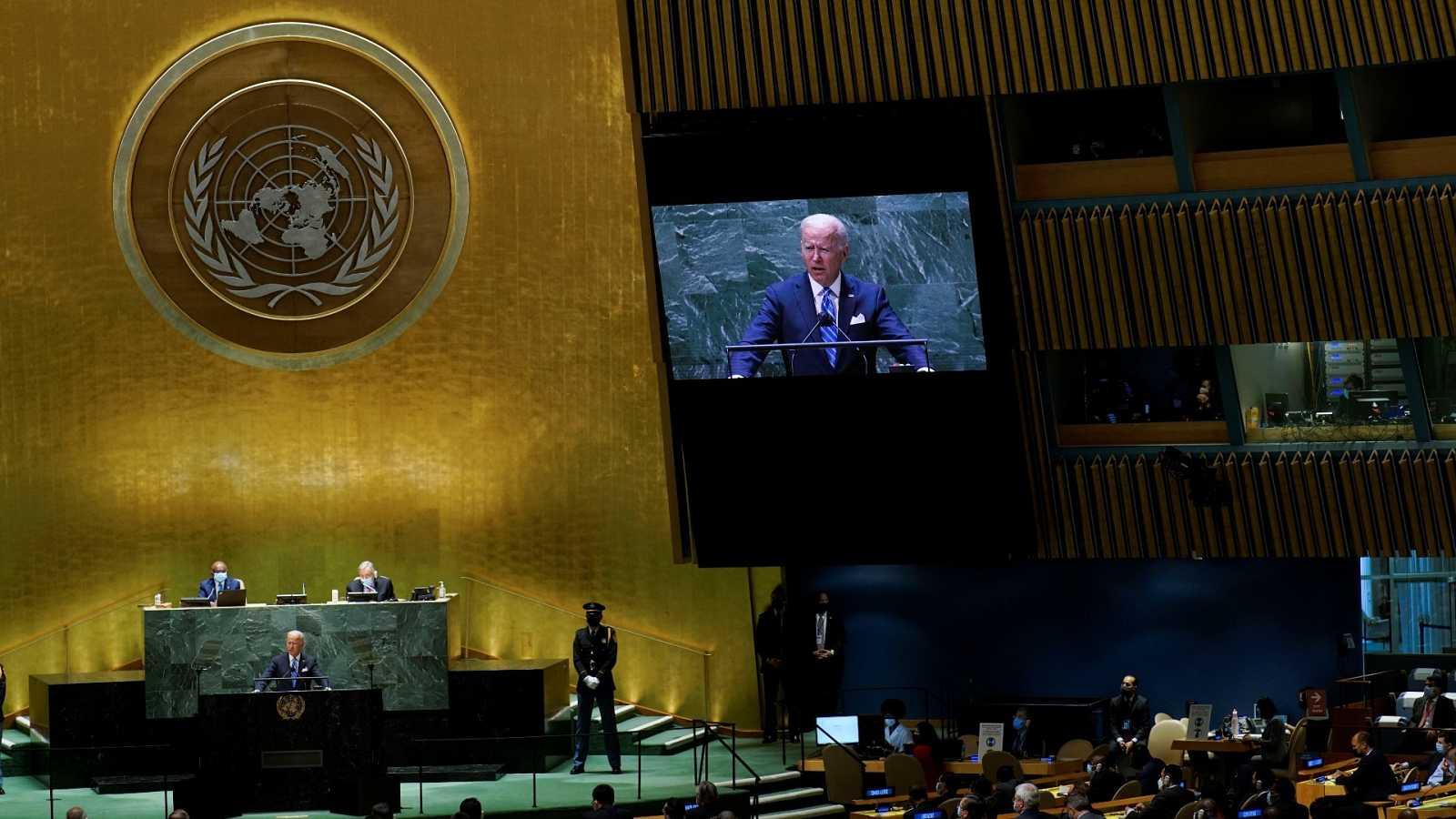El presidente de los Estados Unidos, Joe Biden, se dirige al 76 ° período de sesiones de la Asamblea General de la ONU en la ciudad de Nueva York, Estados Unidos, el 21 de septiembre de 2021