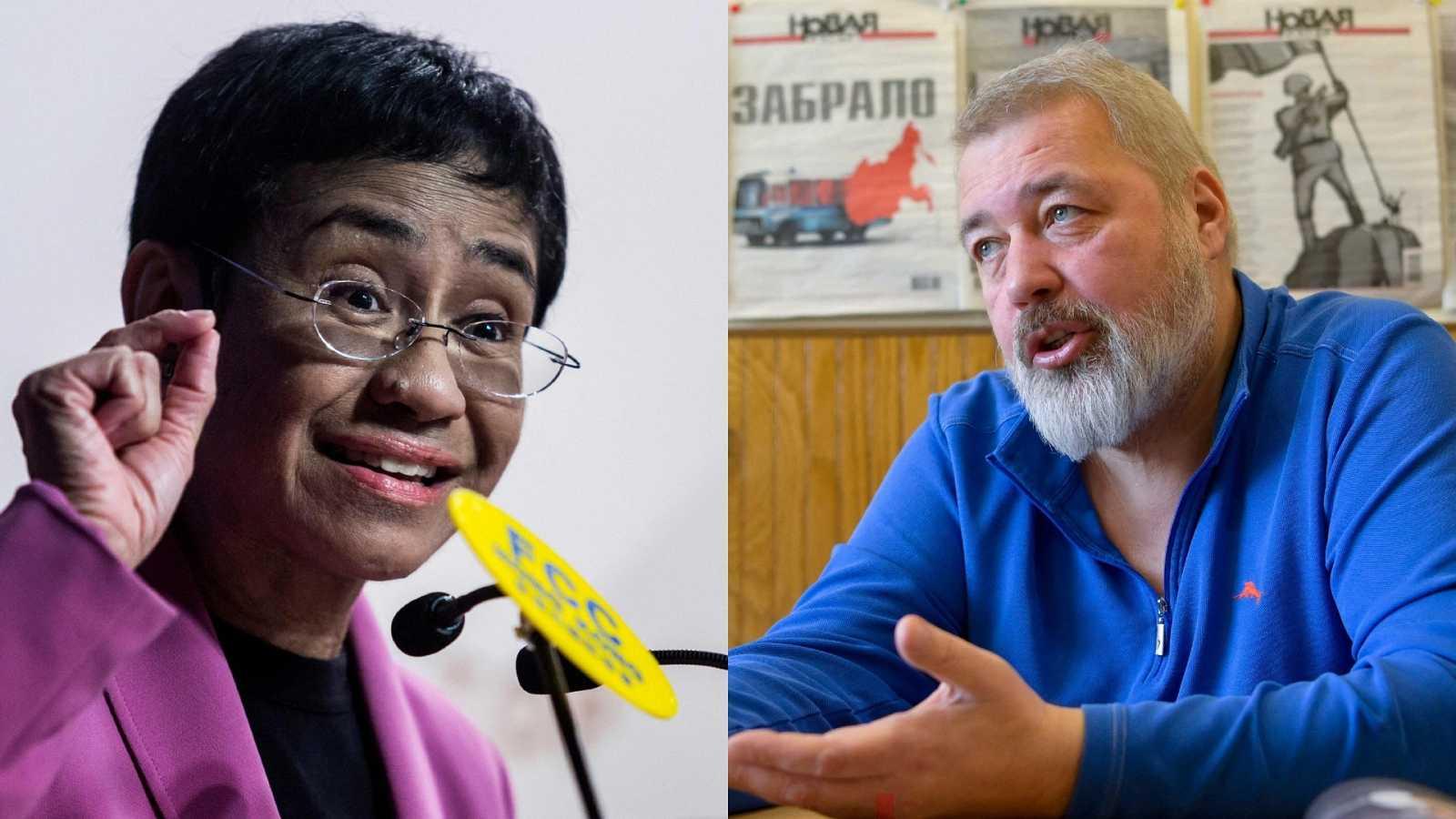 Los periodistas Maria Ressa y Dmitry Muratov, galardonados con el Premio Nobel de la Paz 2021.