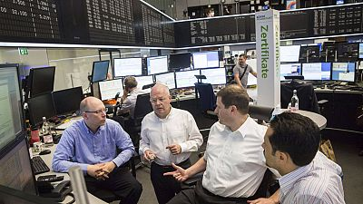 Operadores en la Bolsa de Fráncfort