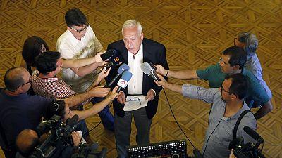 El ministro de Exteriores en funciones, José Manuel García-Margallo, en declaraciones a los periodistas