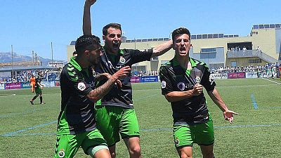 Imagen de archivo de los jugadores del Racing de Santander durate la fase de ascenso 2018/2019.
