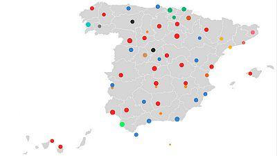 Mapa del poder municipal en las capitales de provincia, Ceuta y Melilla