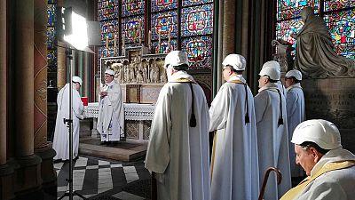 El arzobispo de París, Michel Aupetit, durante la ceremonia
