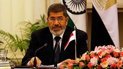 El expresidente egipcio, Mohamed Morsi, durante una rueda de prensa en Nueva Delhi (India) en 2013.