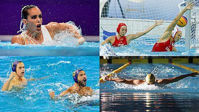 De izquierda a derecha y de arriba a abajo, Ona Carbonell; Laura Ester y Roser Tarragó; Álvaro Granados y Felipe Perrone; y Mireia Belmonte