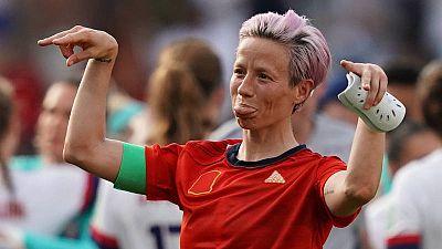 La capitana de la selección de Estados Unidos, Megan Rapinoe, tras el partido contra España.