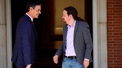 Pedro Sánchez y Pablo Iglesias en una de sus reuniones en Moncloa