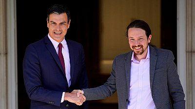 Pedro Sánchez y Pablo Iglesias, en una de sus reuniones en La Moncloa