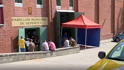 Pabellón municipal de deportes de Alba de Tormes que acogió la capilla ardiente para despedir a los cuatro jóvenes fallecidos en un accidente de tráfico