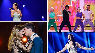 Algunos de nuestros representantes en anteriores ediciones de Eurovisión: Pastora Soler, Miki Núñez, Alfred y Amaia y Ruth Lorenzo