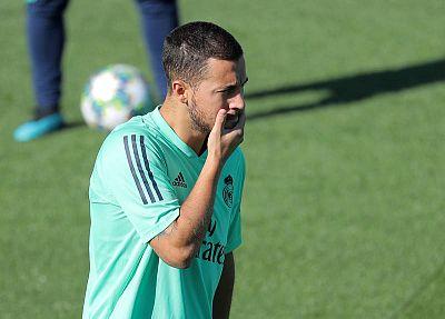 Hazard, este lunes en el entrenamiento del Real Madrid