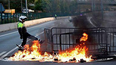 La huelga en Cataluña, en imágenes